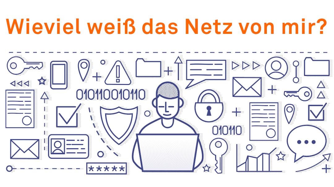 Wieviel weiß das Netz von mir? Das Bild zeigt den User und all die Daten, die er online speichert, sendet und veröffentlicht. Mit Hilfe all dieser Daten kann er für Werbetreibende ein gläserner Mensch sein.