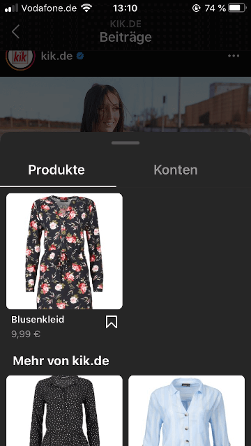 Shoppable Content bei Kik: Produktvorschau