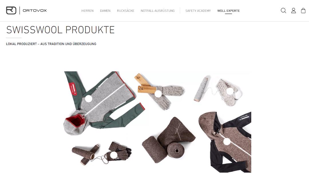 Shoppable Content bei Swiss Wool