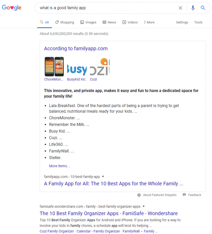 "FamilyApp: SERP zu ""What is a good family app"""