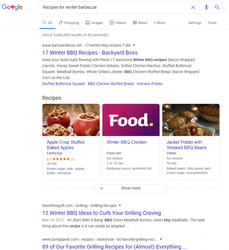 "FamilyApp: SERP zu ""Recipes for Winter Barbecue"""