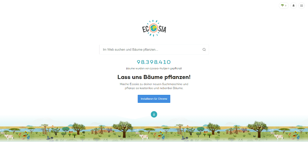 Alternative Suchmaschinen: Ecosia
