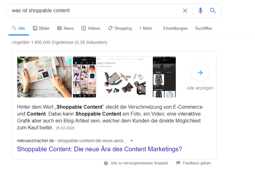 Google Knowledge Graph: Featured Snippet