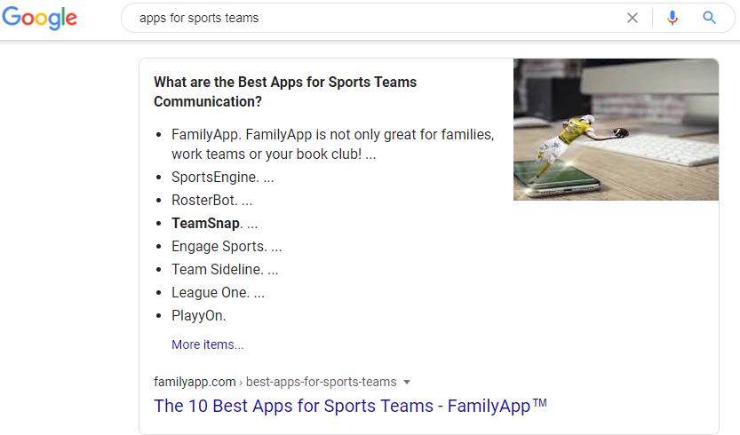 Featured Snippet als Liste für FamilyApp.com