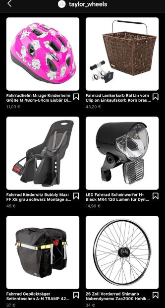 Instagram Shopping: Taylor Wheels Produkte